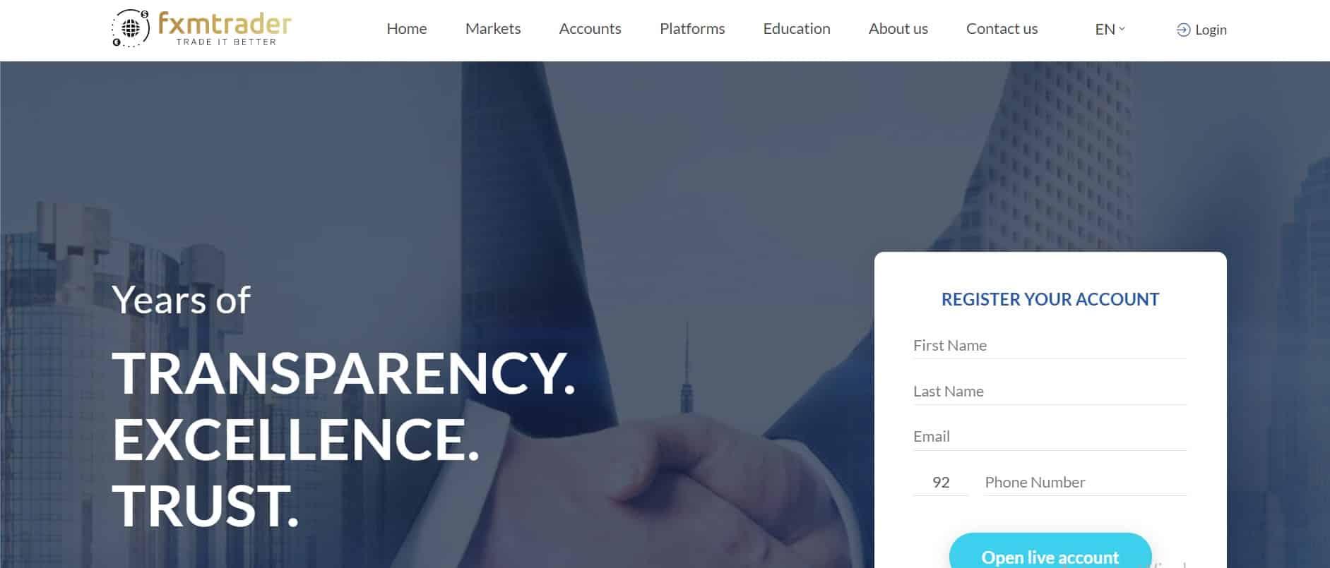 FxmTrader website